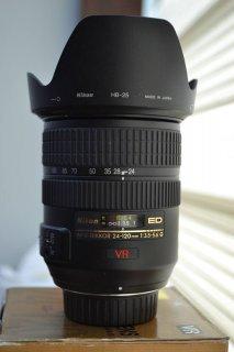 Nikon lens 24-120 VR+Hood HB-25 |عدسة كاميرا نيكون