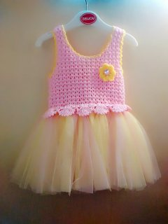 فستان بيبي كروشيه تنورة توتو