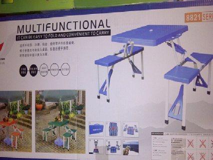 طاولة شنطة مع 4 كراسي قابلة للطي للرحلات و الحدائق
