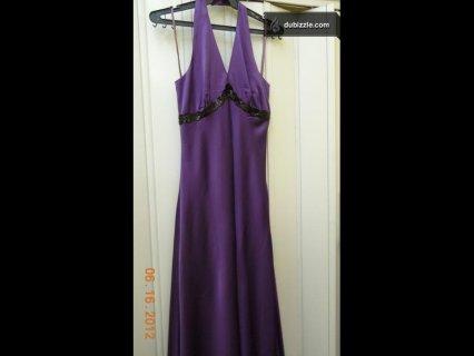 فستان سهرة ستان طويل استخدام مرة واحدة بحالة ممتازة